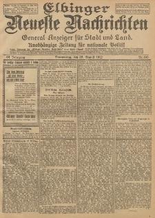 Elbinger Neueste Nachrichten, Nr. 190 Donnerstag 15 August 1912 64. Jahrgang