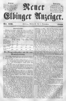 Neuer Elbinger Anzeiger, Nr. 279. Mittwoch, 3. September 1851