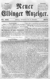 Neuer Elbinger Anzeiger, Nr. 282. Sonnabend, 13. September 1851