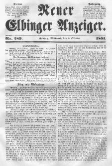 Neuer Elbinger Anzeiger, Nr. 289. Mittwoch, 8. Oktober 1851