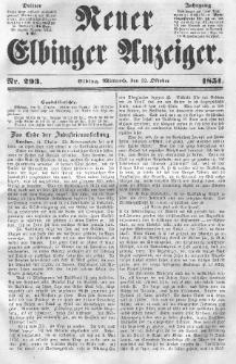 Neuer Elbinger Anzeiger, Nr. 293. Mittwoch, 22. Oktober 1851