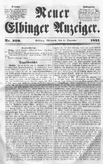 Neuer Elbinger Anzeiger, Nr. 309. Mittwoch, 17. Dezember 1851