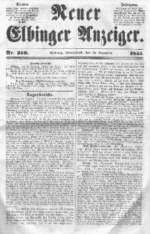 Neuer Elbinger Anzeiger, Nr. 310. Sonnabend, 20. Dezember 1851