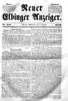Neuer Elbinger Anzeiger, Nr. 319. Mittwoch, 21. Januar 1852