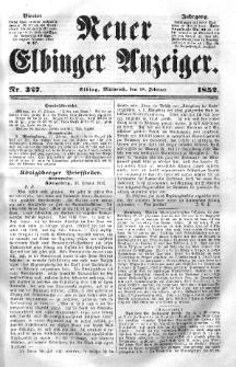 Neuer Elbinger Anzeiger, Nr. 327. Mittwoch, 18. Februar 1852