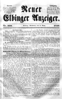 Neuer Elbinger Anzeiger, Nr. 339. Mittwoch, 31. März 1852