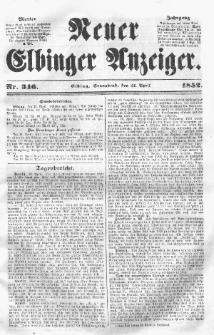 Neuer Elbinger Anzeiger, Nr. 346. Sonnabend, 24. April 1852