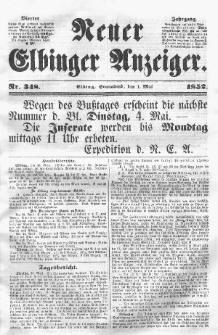 Neuer Elbinger Anzeiger, Nr. 348. Sonnabend, 1. Mai 1852