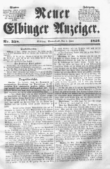 Neuer Elbinger Anzeiger, Nr. 358. Sonnabend, 5. Juni 1852