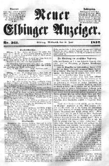 Neuer Elbinger Anzeiger, Nr. 361. Mittwoch, 16. Juni 1852