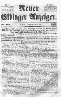 Neuer Elbinger Anzeiger, Nr. 366. Sonnabend, 3. Juli 1852
