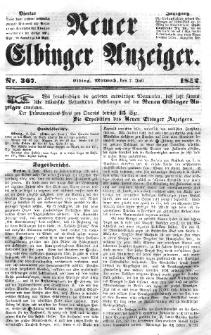 Neuer Elbinger Anzeiger, Nr. 367. Mittwoch, 7. Juli 1852