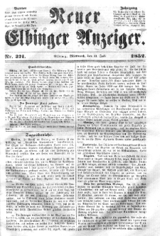 Neuer Elbinger Anzeiger, Nr. 371. Mittwoch, 21. Juli 1852