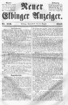Neuer Elbinger Anzeiger, Nr. 380. Sonnabend, 21. August 1852