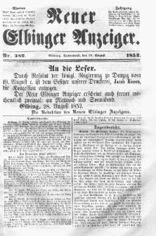 Neuer Elbinger Anzeiger, Nr. 382. Sonnabend, 28. August 1852