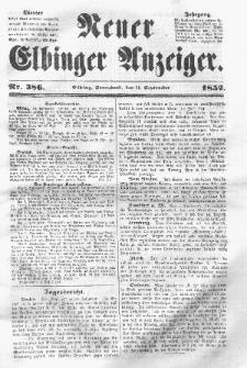 Neuer Elbinger Anzeiger, Nr. 386. Sonnabend, 11. September 1852