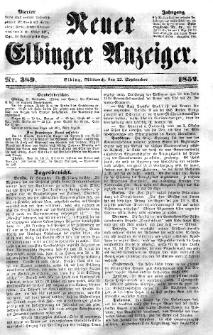 Neuer Elbinger Anzeiger, Nr. 389. Mittwoch, 22. September 1852