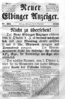 Neuer Elbinger Anzeiger, Nr. 391. Mittwoch, 29. September 1852