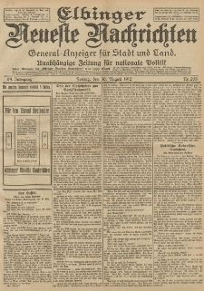 Elbinger Neueste Nachrichten, Nr. 203 Freitag 30 August 1912 64. Jahrgang