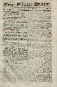 Neuer Elbinger Anzeiger, Nr. 409. Mittwoch, 10. November 1852