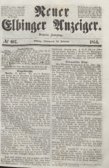 Neuer Elbinger Anzeiger, Nr. 607. Mittwoch, 15. Februar 1854