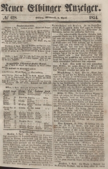 Neuer Elbinger Anzeiger, Nr. 628. Mittwoch, 5. April 1854