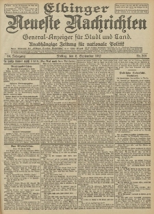 Elbinger Neueste Nachrichten, Nr. 209 Freitag 6 September 1912 64. Jahrgang