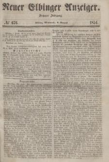 Neuer Elbinger Anzeiger, Nr. 676. Mittwoch, 2. August 1854