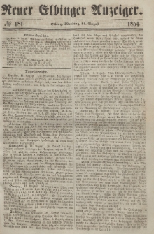 Neuer Elbinger Anzeiger, Nr. 681. Montag, 14. August 1854