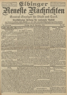 Elbinger Neueste Nachrichten, Nr. 215 Freitag 13 September 1912 64. Jahrgang