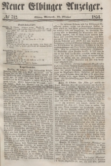 Neuer Elbinger Anzeiger, Nr. 712. Mittwoch, 25. Oktober 1854
