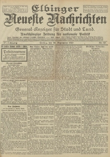 Elbinger Neueste Nachrichten, Nr. 221 Donnerstag 20 September 1912 64. Jahrgang