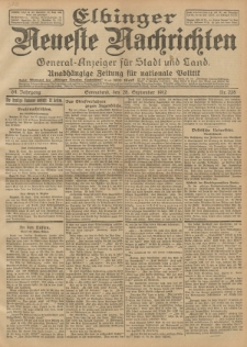 Elbinger Neueste Nachrichten, Nr. 228 Sonnabend 28 September 1912 64. Jahrgang
