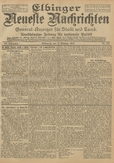 Elbinger Neueste Nachrichten, Nr. 231 Mittwoch 2 Oktober 1912 64. Jahrgang