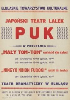 """Japoński Teatr Lalek """"PUK"""" - afisz z zapowiedzią spektakli teatralnych"""