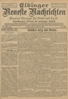 Elbinger Neueste Nachrichten, Nr. 233 Freitag 4 Oktober 1912 64. Jahrgang