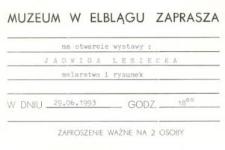 Jadwiga Lesiecka: malarstwo i rysunek – zaproszenie na wystawę
