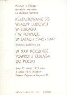 Kształtowanie się władzy ludowej w Elblągu i powiecie w latach 1945-1947 – zaproszenie