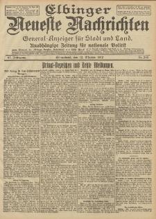 Elbinger Neueste Nachrichten, Nr. 240 Sonnabend 12 Oktober 1912 64. Jahrgang