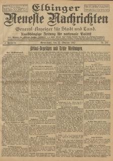 Elbinger Neueste Nachrichten, Nr. 241 Sonnabend 12 Oktober 1912 64. Jahrgang