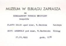 """Renesansowy turniej muzyczny zespołów """"Flauto Dolce"""" i """"Skuti Ensemble"""" – zaproszenie na koncert"""