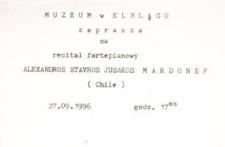 Recital fortepianowy Alexandros Stavros Jusakos Mardonef (Chile) – zaproszenie na koncert