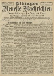 Elbinger Neueste Nachrichten, Nr. 244 Dienstag 15 Oktober 1912 64. Jahrgang