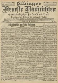 Elbinger Neueste Nachrichten, Nr. 247 Freitag 18 Oktober 1912 64. Jahrgang
