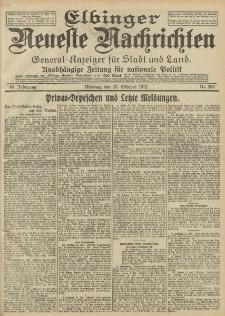 Elbinger Neueste Nachrichten, Nr. 250 Montag 21 Oktober 1912 64. Jahrgang