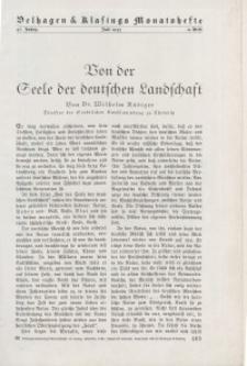 Velhagen & Klasings Monatshefte. Juli 1933, Jg. XLVII. Heft 11.