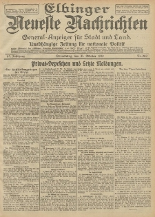 Elbinger Neueste Nachrichten, Nr. 260 Donnerstag 31 Oktober 1912 64. Jahrgang