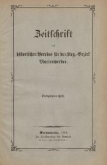 Zeitschrift des historischen Vereins für den Regierungsbezirk Marienwerder, H. 17