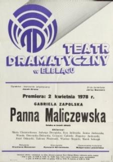 Panna Maliczewska – afisz teatralny
