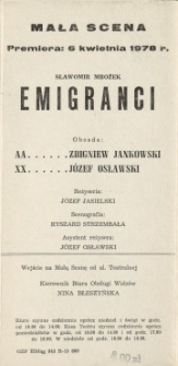 Emigranci – program teatralny